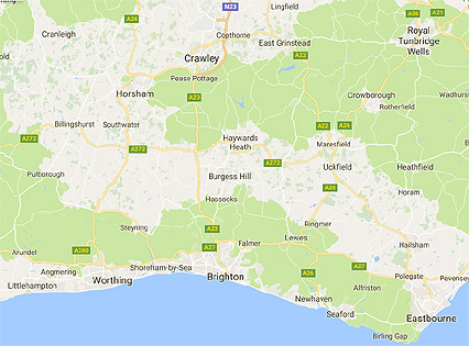 google map of the brighton area of east sussex