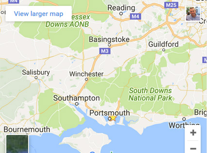google map of southern england